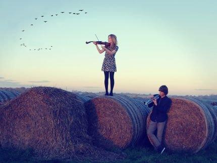 mit geige und trompete