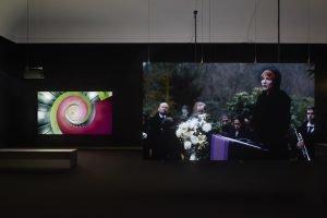 "Installationsicht ""Manifesto. Julian Rosefeldt"", Museum Villa Stuck, Fotos: Jann Averwerser"