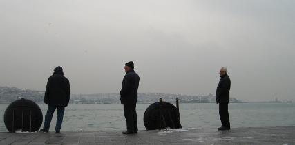 Verschleierte Sicht auf die asiatische Seite Istanbuls