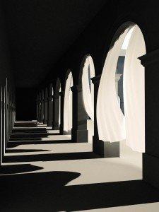 Simulation der mit Vorhängen bestückten Arkadengänge im Hofgarten © Gerhardt Kellermann