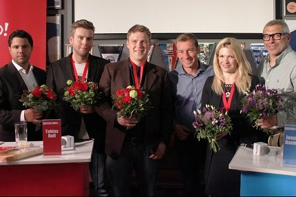 """v.l.n.r.: Benjamin Best, Markus Ehrlich, Tobias Ruff für Team """"No!"""" & Markus Othmer, Jessica Kastrop, Jimmy Hartwig für Team """"Yes!"""""""