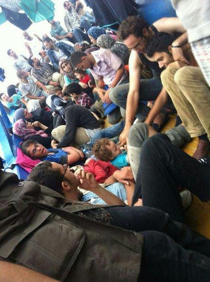Flüchtlingsboot von Alexandria nach Lampedusa