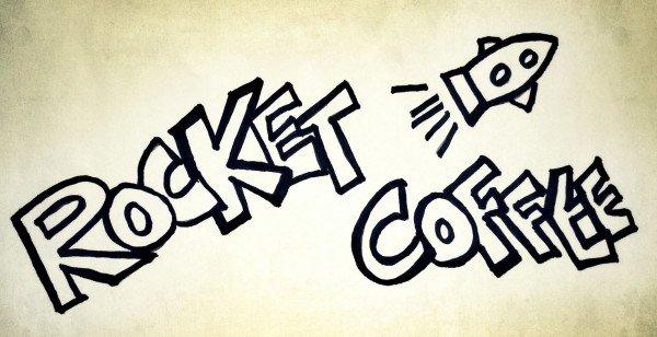 Mucbook: Restaurant Day München, Schild Rocket Coffee mit gemalter Rakete