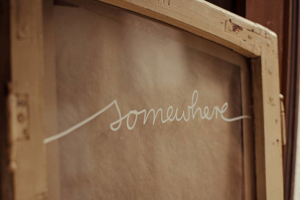 "Mucbook: Pop Up Dinner am 18.12. in München, Tafel mit Text ""somewhere"""
