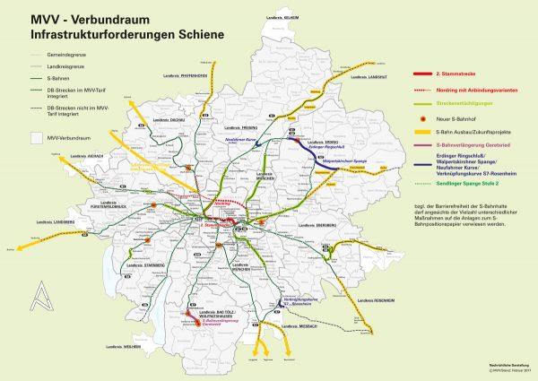 Darstellinug zum Positionspapier der Verbundlandkreise Zukunftsperspektiven für die S-Bahn München. Karte: © MVV