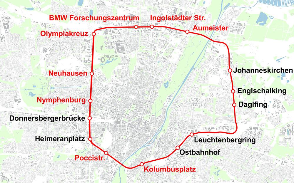 Konzeptstudie zur Ringbahn (neue Stationen in rot, vorhandene Stationen in schwarz). Karte: Herzog, Atabay, OpenStreetMap