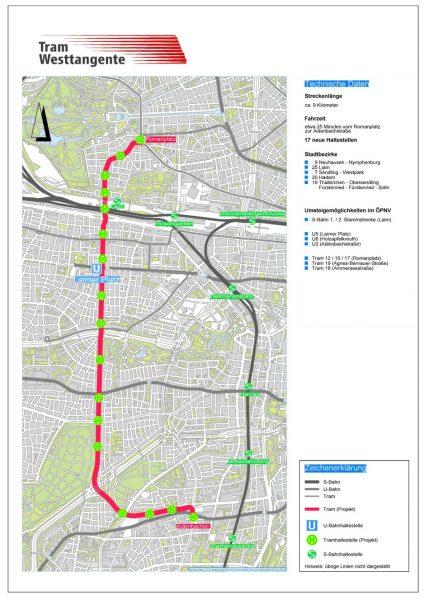 """Die Planung zur Tram Westtangente der """"ÖPNV-Offensive"""", © MVG"""
