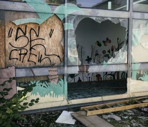 Ruine der Gehoerlosenschule Muenchen