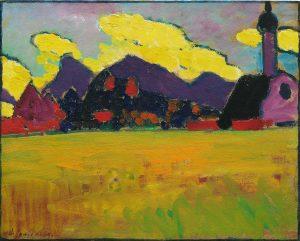 Alexej von Jawlensky Landschaft bei Murnau (Gelbe Abendwolken), um 1910, Öl auf Karton, 33,2 × 41,2 cm, Hilti Art Foundation, Schaan, Liechtenstein